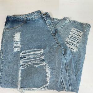 SHEIN Destructed 3XL Denim Jeans